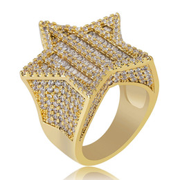 ring slides NZ - Designer Jewelry Men Rings Ice Out Hiphop Star Gold Ring Bling Cubic Zirconia Mens Hip Hop Jewel