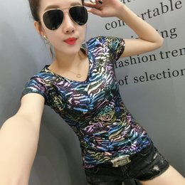 Sparkling Shirt Australia - Colorful Sparkling T Shirt Female 2018 Summer Fashion V Neck Short Sleeve T Shirts Women European Style Large Size Slim Tops Tee Y19051301