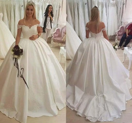 Wholesale 2019 New Luxurious Ball Gown Wedding Dresses Off Shoulder Satin Lace Appliques Beaded Court Train Plus Size Simple Formal Bridal Gowns