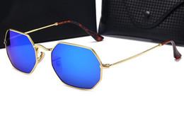 $enCountryForm.capitalKeyWord Australia - High quality men ladies Sun sunglasses retro metal polygonal glass sunglasses color film reflective 3556 With Case and box