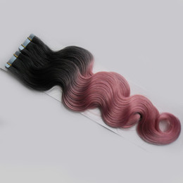 Human Hair Pink Color Australia - Unprocessed Virgin Peruvian Body Wave Hair Tape In Human Hair Extensions Ombre Two tone Virgin Tape In Hair Extensions Black And Pink Color