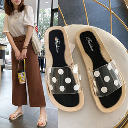 $enCountryForm.capitalKeyWord Australia - 2019 Summer New Hot Sandals Versatile Polka Dot Transparent Slippers Female Korean Style Flats Outer Wear Wider Feet Shoes