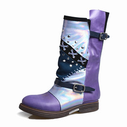 Purple Martin Boots Australia - women high boots retro style handmade rivet studded martin boots mixed color genuine leather thick bottom botas rubber shoes women