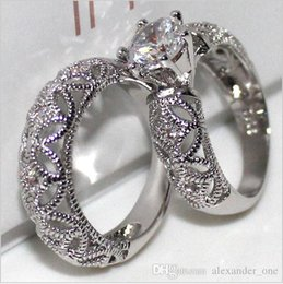 Wedding Ring Types Australia - Thread Type Hollow 2ct Six Claw Inlay Zircon Brick Set of Ring Send His Girlfriend to Marry Party Ring 2-in-1