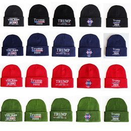 Wholesale hi hats for sale – custom Donald Trump Knitted Hat Make America Great Trump Letter Embroidery Designer Crochet Hat Winter Autumn Hi pop Cap HHA776