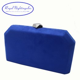 $enCountryForm.capitalKeyWord Australia - Royal Nightingales Velvet Suede Hard Box Clutch Evening Bags Evening Clutches And Handbags For Womens Royal Blue Red Y19062105