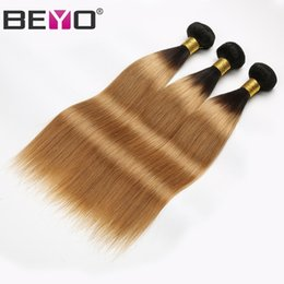 34 inches hair Australia - 1B 27 Honey Blonde Ombre Bundles Raw Virgin Indian Straight Hair Bundles Human Hair Extension 3 Bundle Deals 12-24 Inch Remy Beyo