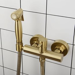 $enCountryForm.capitalKeyWord NZ - Brushed Gold Brass Bathroom Bidet Faucet Wall Mounted Hot Cold Water Mixer Bidet Sprayer