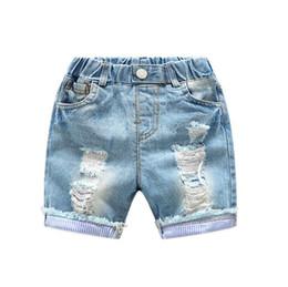 c5baf631 Boys Jeans Short Summer Children Fashion Broken Hole Denim Pants Baby Girl  Kids Blue Ripped Jeans Infantil Cotton Causal Shorts Trousers
