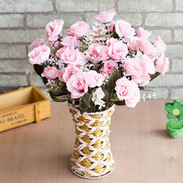$enCountryForm.capitalKeyWord Australia - 12 Heads Pink Blossom Rose Flower Vivid Mini Silk Artificial Flowers Bouquet Decoration For Wedding Home High Quality Life