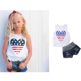 Girls Denim Bow Shirt Australia - Independence Day Kids Girls Sets Sleeveless Ruffled Tees Denim Shorts 2pieces Suits Poket Hole Stylish Child Girls Outfits for 1-6T