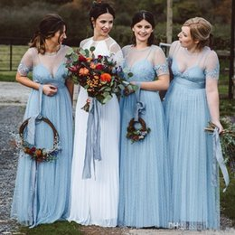 Gold beach bridesmaid dresses online shopping - 2019 Country Style Ice Blue Bridesmaid Dresses Sheer Jewel Neck Illusion Bodice Floor Length Appliques Garden Country Beach Guest Gowns