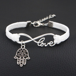 $enCountryForm.capitalKeyWord NZ - Cute White Knitted Leather Suede Bracelets Infinity Love Hamsa Fatima Hand Palm Pendant Jewelry Fashion Accessories Women Men Romantic Gifts