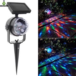 Wholesale Solar Rotating Light RGB Crystal Magic Ball Disco Stage light Christmas Party Lamp Outdoor Garden Lawn Laser Projector Lamp