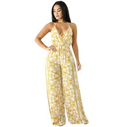 0c965e93fb Women African Print Jumpsuit Floral Print Plunge V Neck Sleeveless Overalls  High Waist Bandage Backless Wide Legs Sexy Romper