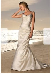 Silk Satin Sheath Wedding Dresses Australia - Sheath Column Spaghetti Straps Court Train Elastic Woven Satin Wedding Dress00163