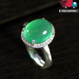 Ring Adjust Size Australia - Wedding Band 2019 Jewelry Rings Top Quality 925 Silver Diamond Natural Green Chalcedony Ellipse Ogival Hatch Can Adjust Ring Nation Wind