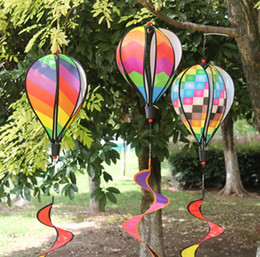 yard spinners Canada - Rainbow Stripe Grid Windsock Hot Air Balloon Wind Spinner Garden Yard Outdoor Decoration Hanging Decoration SN3803