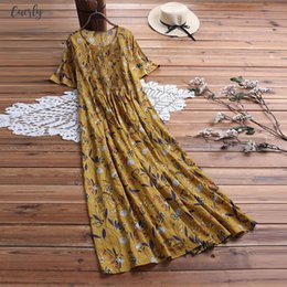 woman dress yellow maxi Canada - Vintage Maxi Dress Women Pleated Leaves Floral Print Short Sleeve Loose Long Dresses Plus Size Boho Dress Robe Femme Vestidos