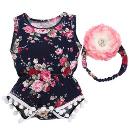 Wholesale 2017 New Y Floral Pattern Infantil Baby Girl Romper Para Bebe Headband Set Tassel One Piece Newborn Baby Clothes Suit