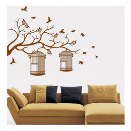 Pvc cages online shopping - Branches bird cages hand carved walls living room living room background flat watertight decorative stickers can be removed