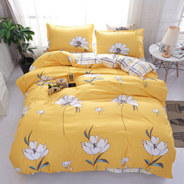 Discount king size orange quilt - Yellow white Flower bedding set gray plaid bed sheet cartoon duvet cover quilt cover full twin queen king size popular