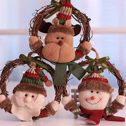 christmas ornament displays Canada - Christmas Rattan Ring Wreath Door Hanging Pendant Old Man Snowman Elk Ornaments Christmas Decoration for Home Display Window