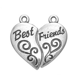 $enCountryForm.capitalKeyWord UK - JF101 Hot Selling Handmade Antique Silver Color Heart Best Friends Necelace Charm Pendant For DIY Jewelry
