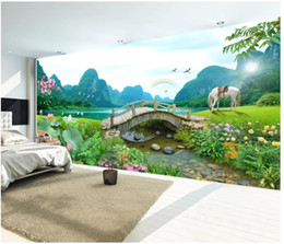 $enCountryForm.capitalKeyWord Australia - Wholesale-murals-Customized 3d wallpapers home decor Photo wall paper HD mountain clear water show small bridge flowing water landscape wall