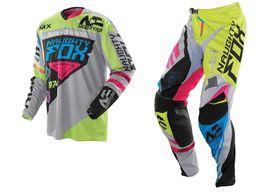 $enCountryForm.capitalKeyWord Australia - 2019 NAUGHTY Fox 360 MX Gear Set Motocross ATV Dirt Bike Off-Road Race Gear Pant & Jersey Combo Green Grey