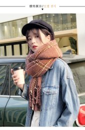 Wholesale Scarf women autumn and winter Korean version with British plaid students Japanese girls knitting thickened wool scarf shawl