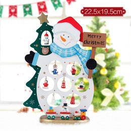 Christmas Ornament Tops Australia - Free Shipping Christmas Wood Decoration DIY Table Top for Party Home Bar Christmas Tree Deer Snowman Ornament Present Festival