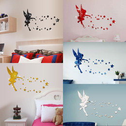 3d angel stickers online shopping - Angel Acrylic Mirror Wall Stickers D Angel Crystal Mirror Paste Home Kids Bedroom Wall Mirrors Decoration