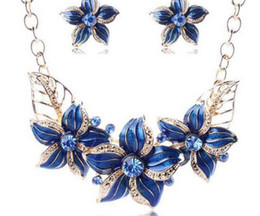 Red Indian Costumes Australia - Austrian Crystal Enamel Flower Jewelry Sets Women African Costume Jewelry Maxi Necklace Earring Set