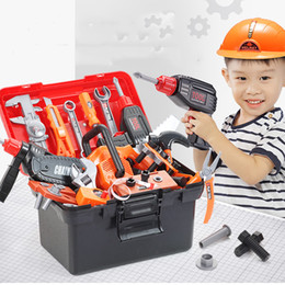 boy tool toys NZ - Kids Toolbox Kit Educational Toys Simulation Repair Tools Toys Drill Plastic Game Learning Engineering Puzzle Toys Gifts For Boy