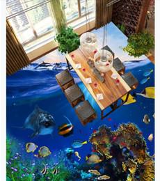 $enCountryForm.capitalKeyWord NZ - Customized 3D Self-adhesive floor photo mural wallpaper Beautiful Ocean World Dolphin Bathroom Living Room 3D Waterproof Floor Painting