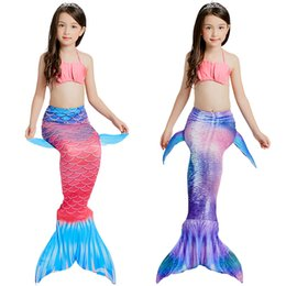 pink mermaid costume Australia - 3PCS Set The Little Mermaid Tail Costume Princess Ariel Children Mermaid Tail Cosplay Kids For Girl Fancy Swimsuit