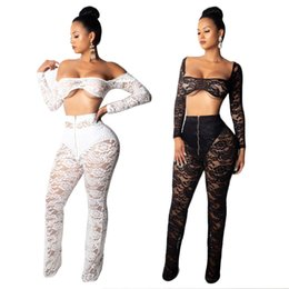 Wholesale black off shoulder jumpsuit resale online - Women Sexy Lace Two Piece Set Jumpsuit Sheer Hollow Out Off Shoulder Long Sleeve Crop Shirts Top Flare Pants Night Club Outfits