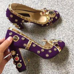 38f278fc72818e runway fashion women jewel pumps round toe mary janes block high heels slip  on shoes party heels women spring autumn