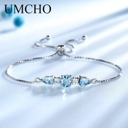 $enCountryForm.capitalKeyWord NZ - Umcho Solid 925 Sterling Silver Bracelets & Bangles For Women Natural Sky Blue Topaz Adjustable Tennis Bracelet Fine Jewelry New J190525