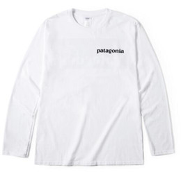 mountain tees NZ - PATAGONIA Long Sleeve Crew Neck T-Shirts Men Fashion Brand Tees Hommes Tops Women Casual Loose Tees Mountain Lovers Peak Print White Tshirt
