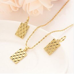 Copper Earrings Indian Australia - Europe geometric square jewelry set chain women Nigerian wedding 14 k solid gold Gf multi layer necklace pendant earring Indian
