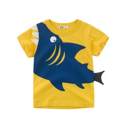1ce4297c15654 summer 2 to 8 years boys printed shark cotton Tees, 2019 Children girls  fashion Tops, baby kids boutique clothing, 6AZB812TP-22