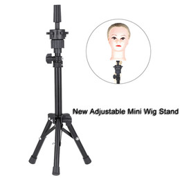 Heads for wigs online shopping - New Adjustable Mini Wig Stand Mannequin Head Hairdressing Tripod For Wigs Head Stand Model Bill Lading Expositor Hairdresser T190716