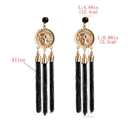 plastic skeleton heads NZ - Hot explosions big brand alloy leopard head tassel European and American fashion personality, wild earrings, bohemian