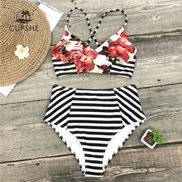 floral suits Australia - CUPSHE Floral And Stripe High Waist Bikini Sets Women Lace Up Two Pieces Swimsuits 2019 Girl Sexy Beach Bathing Suit Swimwear