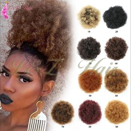 kinky hair ponytails 2019 - Synthetic Afro Ponytail DrawString For Women Short Chignon Accessories Puff Afro Short Kinky Curly Chignon Bun Drawstrin