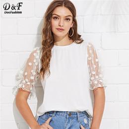 preppy women s clothing 2019 - Dotfashion White Polka Dot Mesh Flounce Sleeve Tee Women Korean Clothes 2019 Casual Tops Summer Preppy Short Sleeve T-Sh