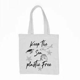 $enCountryForm.capitalKeyWord Canada - Save The Ocean Tote Bag Keep The Sea Plastic Free Shopper Bag Environmentally Friendly Reusable No More Plastic with zipper