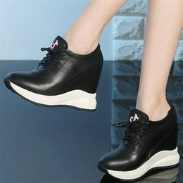 Discount open toe platform ankle boots 2020 Trainers Women Genuine Leather Wedges Platform Ankle Boots Female Round Toe High Heel Fashion Sneakers Casual Pumps